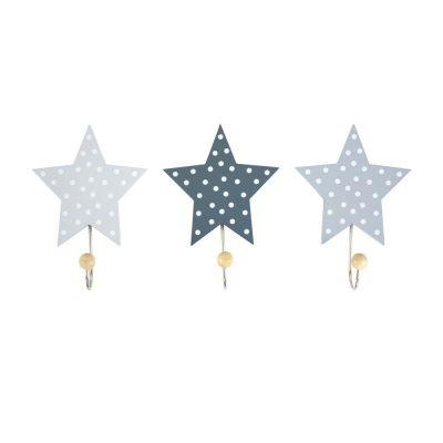 Ξύλινες κρεμάστρες Αστέρια Γκρί (3τμχ)