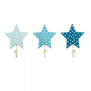 Ξύλινες κρεμάστρες Αστέρια Μπλέ (3τμχ)