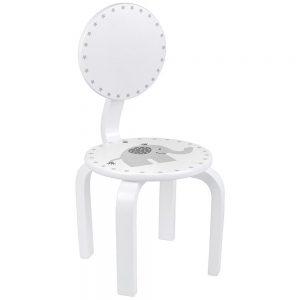Ξύλινη καρέκλα Άσπρη με γκρί ελεφαντάκι